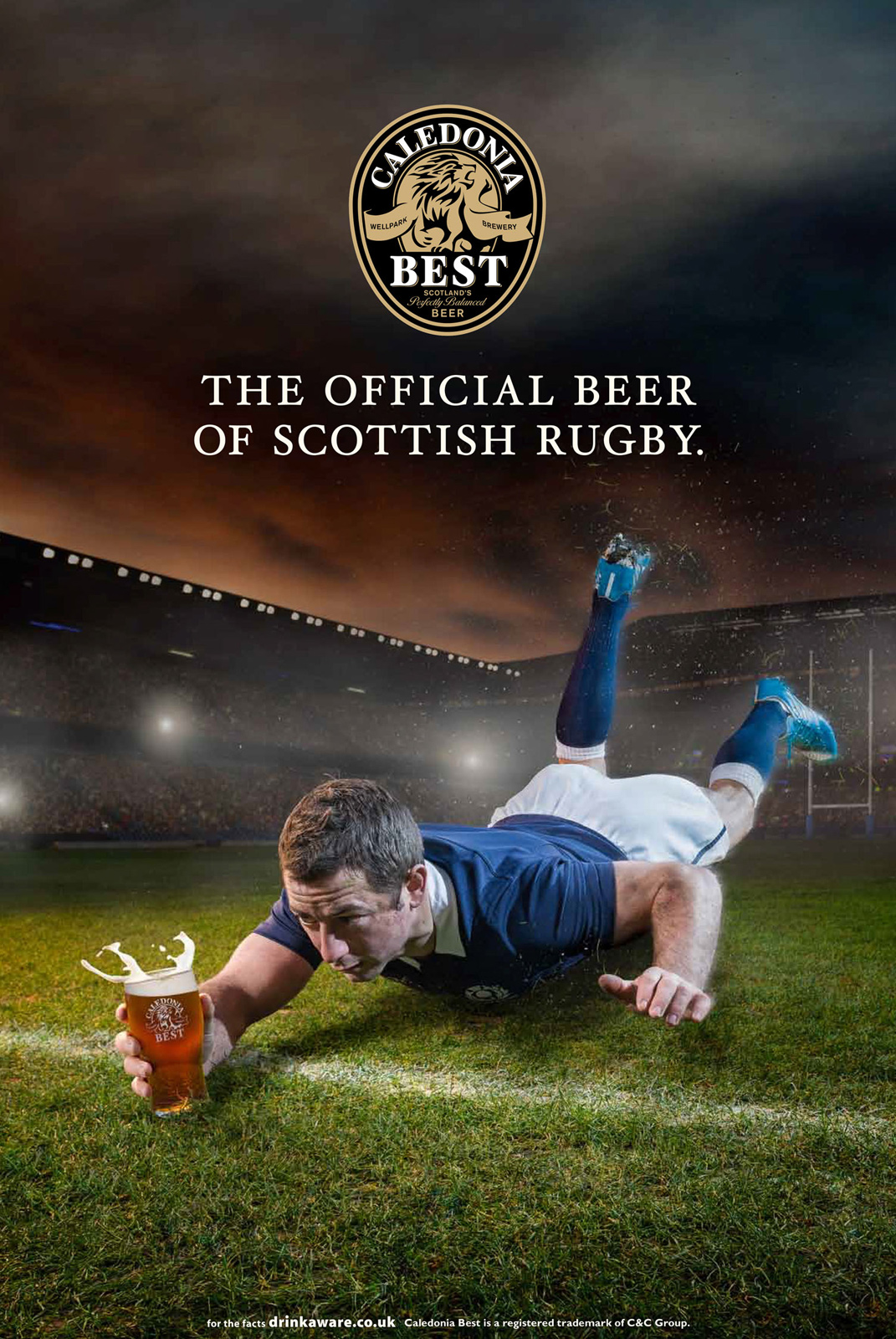 Advert for Beer Company featuring Greig Laidlaw Scottish rugby player and captain at Murrayfield