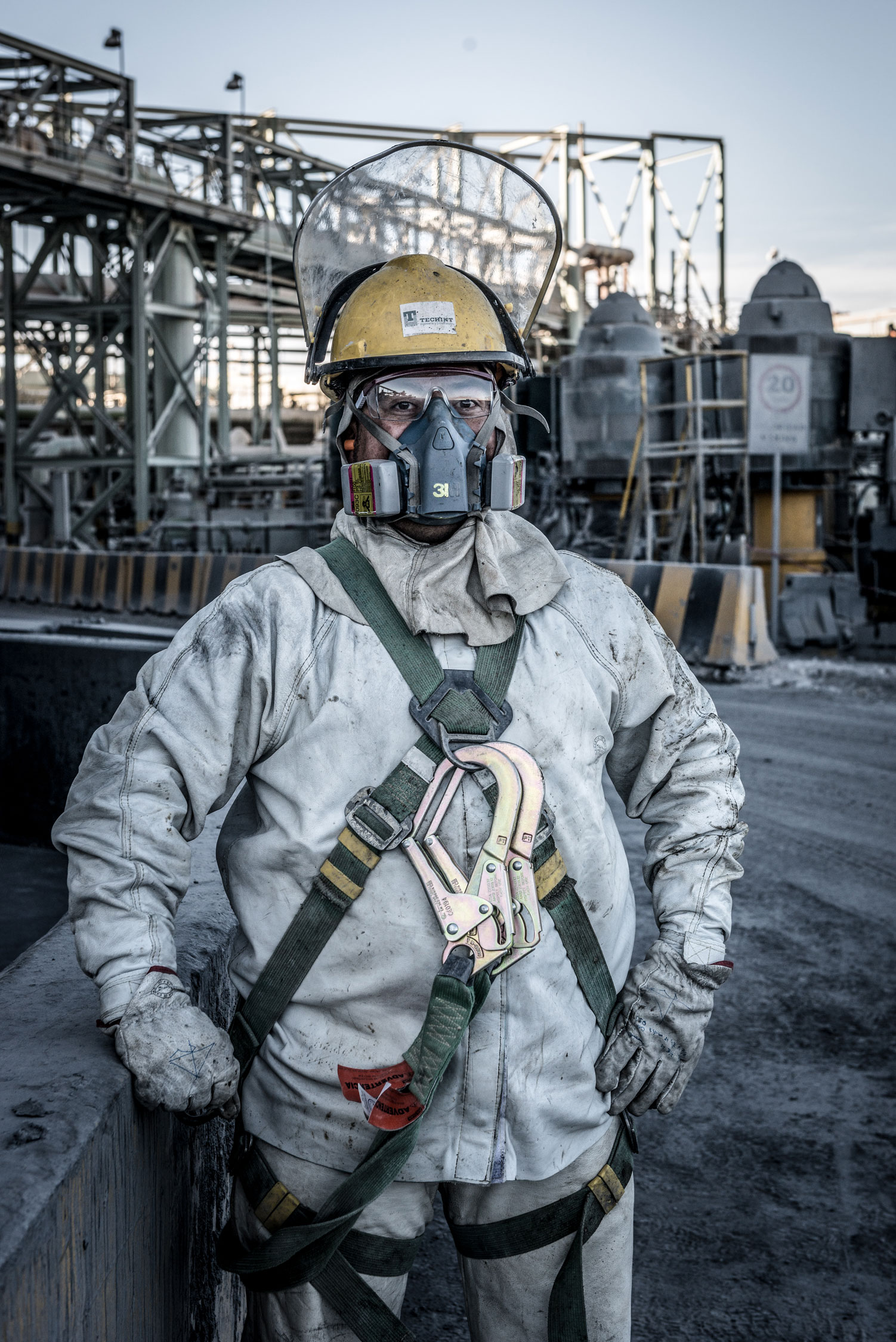 Man in protective clothing in Chilean Mine