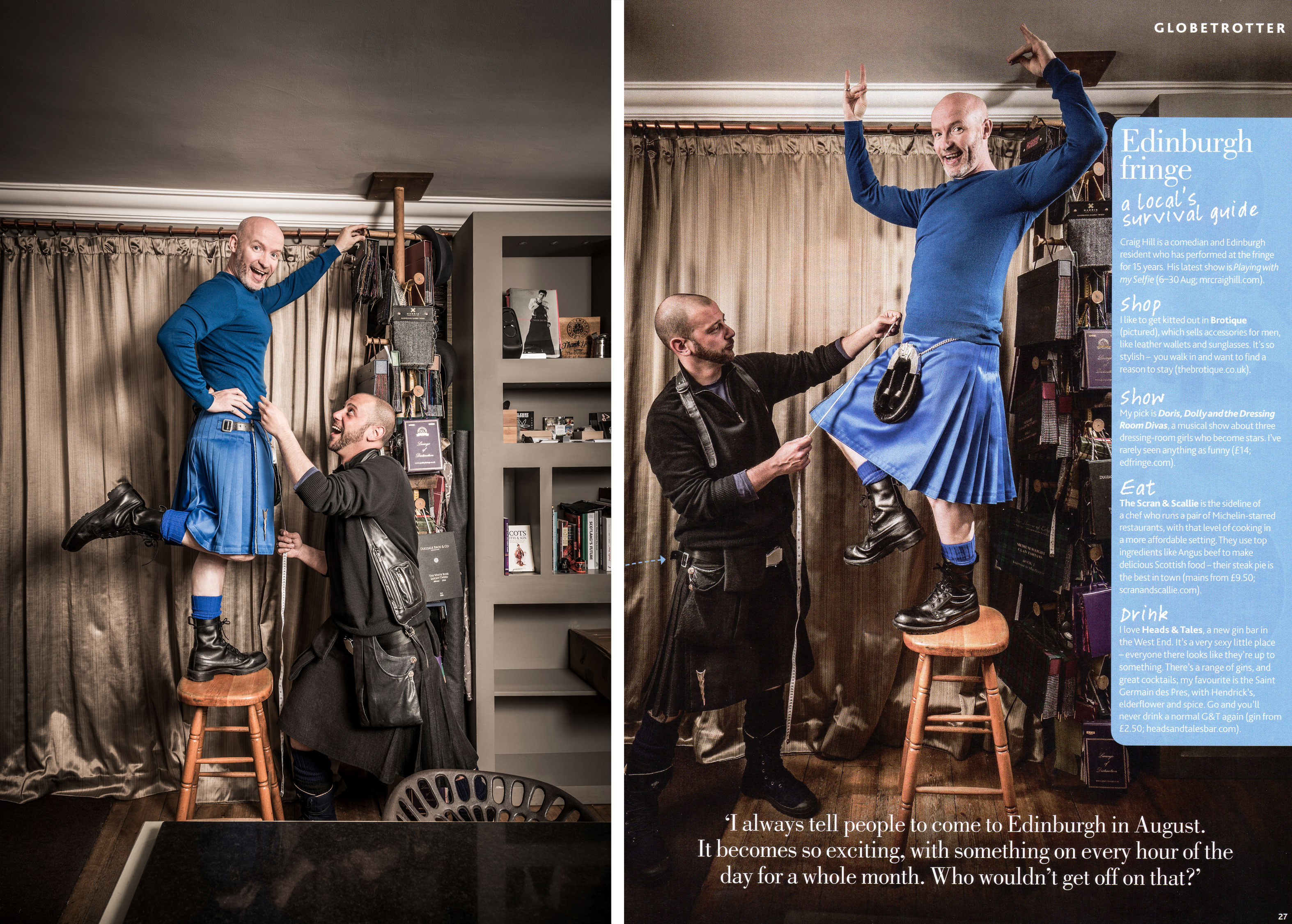 Craig Hill Scottish comedian standing on table being measured for a kilt, Edinburgh