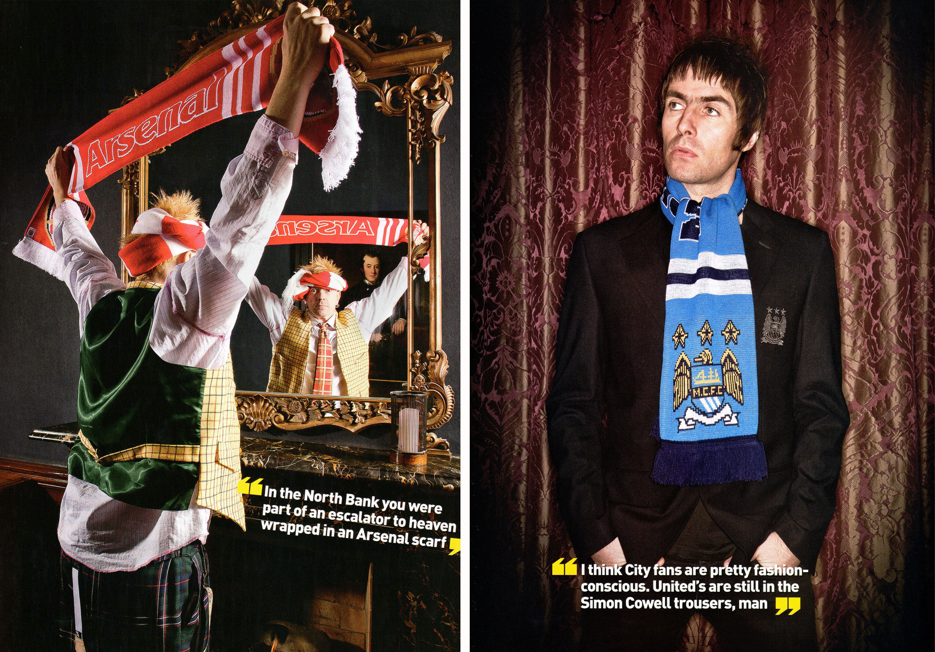 Famous fans Johnny Rotten Lydon of The Sex Pistos and pil and liam Gallagher of oasis with football scarves