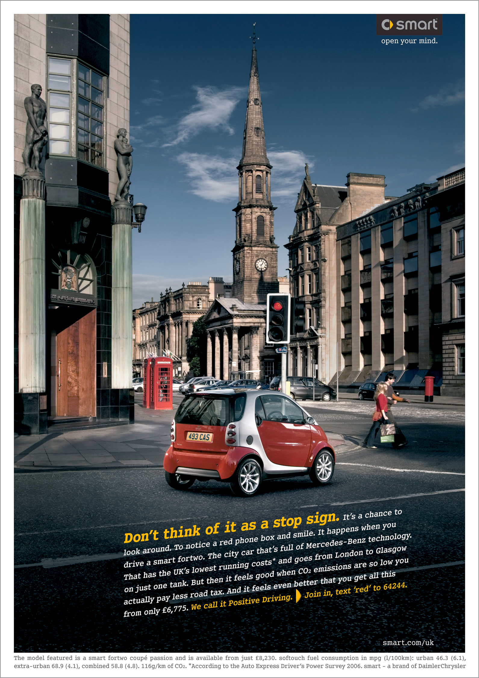 Smart car at red lights with empty roads in edinburgh Scotland