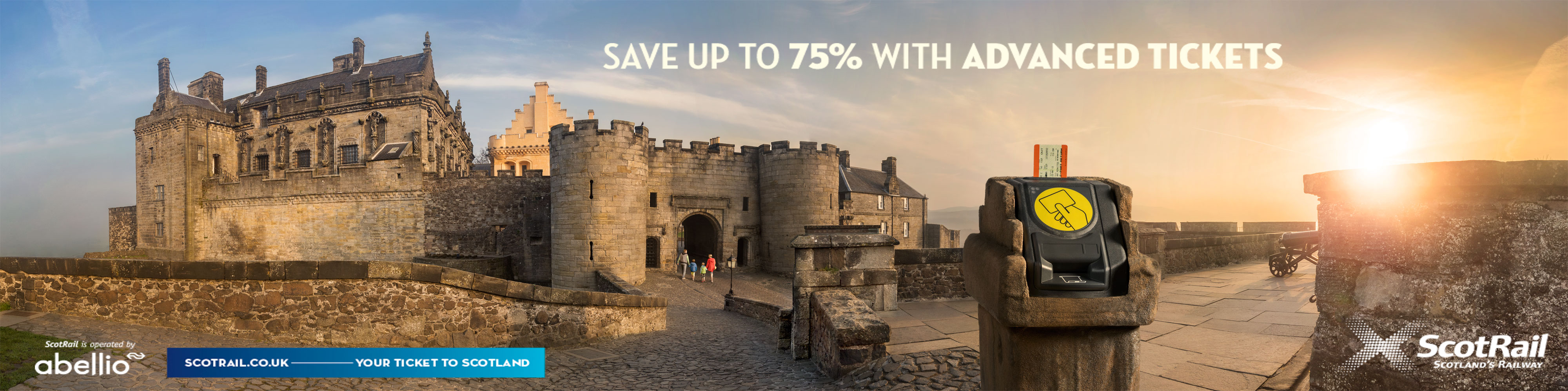 Scotrail Advert at Stirling Castle with young family visiting historic location, Scotland