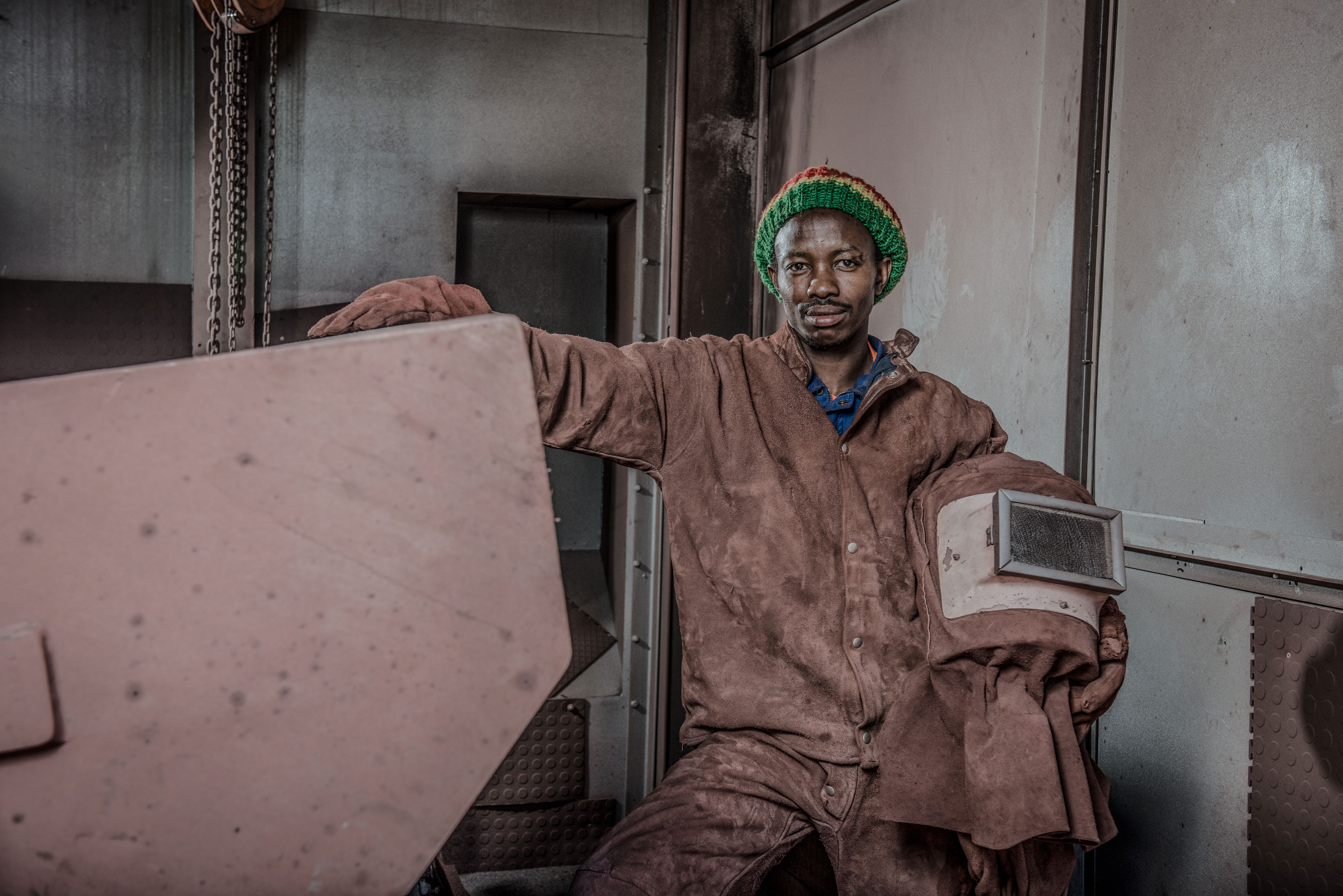 Welder at work in South Africa